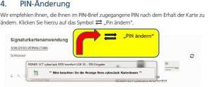 Klicken Sie zur PIN-Änderung auf die gegenläufigen Pfeile