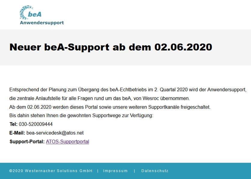 Neuer beA-Support